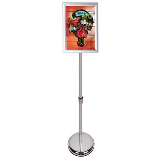 Sign Stand Fits for A4 Size Poster, Round Metal Base, Color Silver