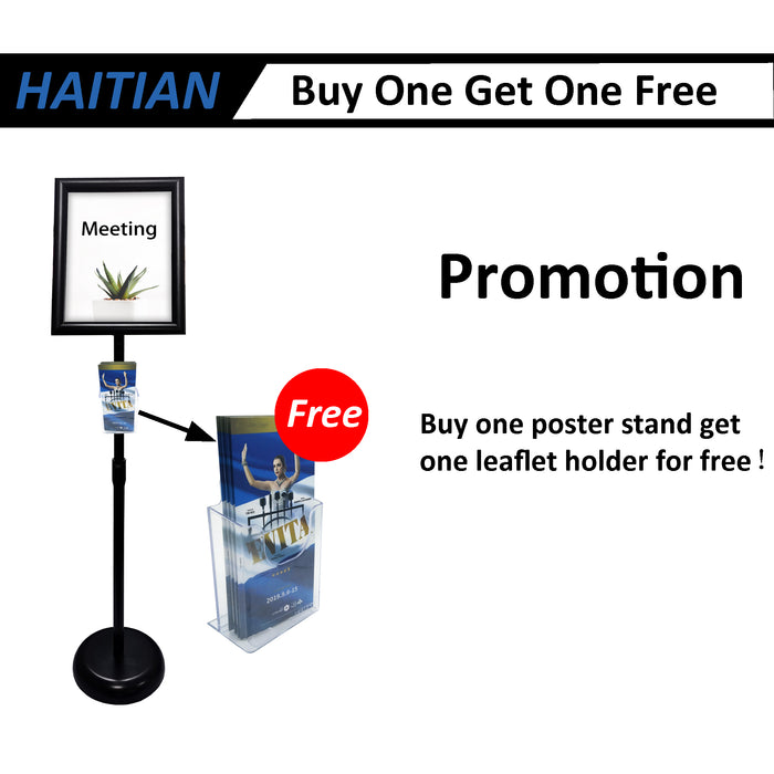 Sign Stand Fits for 8.5x11 Inches Poster, Round Metal Base, Color Black