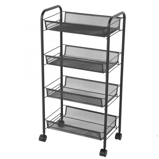 4 Tiers Rolling Wheels Kitchen Metal Trolley Cart Beauty Hair Salon Storage Rack Black Kitchen Trolley