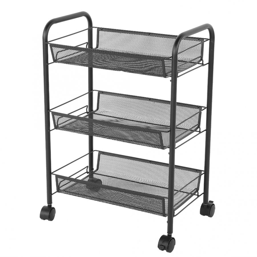 3 Tiers Mesh Shelf Rolling Wheels Kitchen Metal Trolley Cart Hair Salon Storage Rack Black