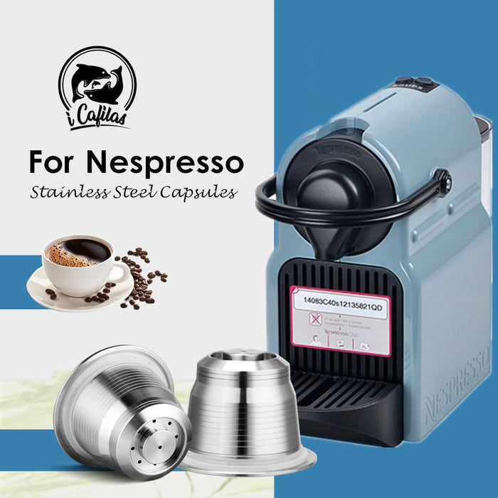 iCafilas Vip Link For Nespresso Refillable Coffee Capsule Pod Stainless Steel Espresso Coffee filters and Tamper Wholesale