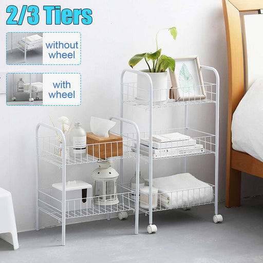2/3 Tier Simple Storage Organizer Rack Bedroom Bathroom Kitchen Shelf Metal Rolling Trolley Cart Storage Holder Basket Bookshelf