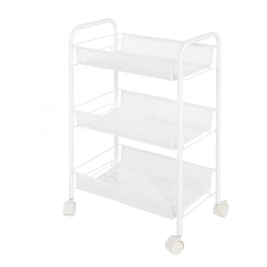 Removable 3 Tiers Metal Rolling Wheel Storage Rack Trolley Cart for Hair Salons Storage Trolley