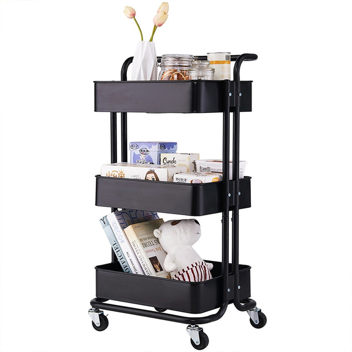 3 Tier Metal Utility Rolling Kitchen Cart with Mesh Basket Handles and Wheels Easy Assembly for Kitchen,Office Storage Organizer