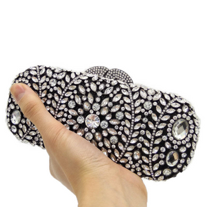 Black & Silver Crystal Clutch - Mirza By SMK