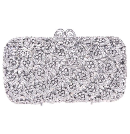 Silver Hearts Crystal Clutch - Mirza By SMK