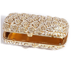 Gold Heart Crystal Clutch - Mirza By SMK