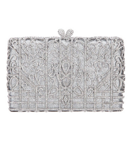 Silver Box Crystal Clutch - Mirza By SMK