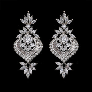 Silver Bridal Drop Earrings - Mirza By SMK
