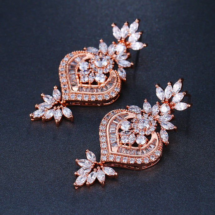 Rose Gold Drop Earrings - Mirza By SMK