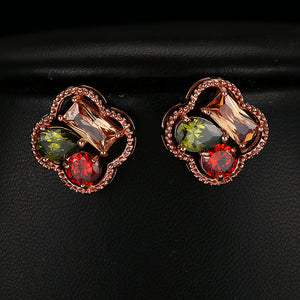 Multi Stone Stud Earrings - Mirza By SMK