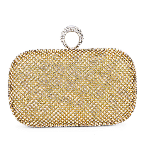 Gold Rhinestone Trendy Clutch - Mirza By SMK