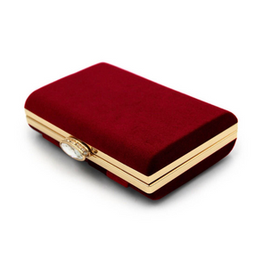 Maroon Velvet Trendy Clutch - Mirza By SMK