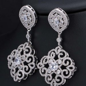 Silver Drop Earrings - Mirza By SMK