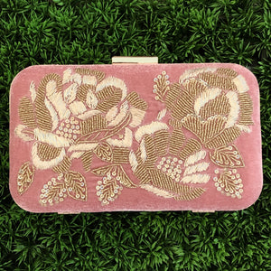 Pink Velvet Embroidered Clutch