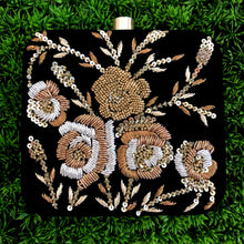 Black Velvet Embroidered Clutch