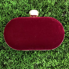 Maroon Velvet Embroidered Clutch