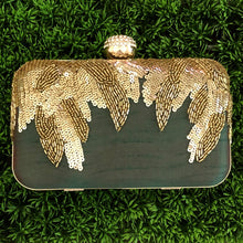 Green Embroidered Clutch