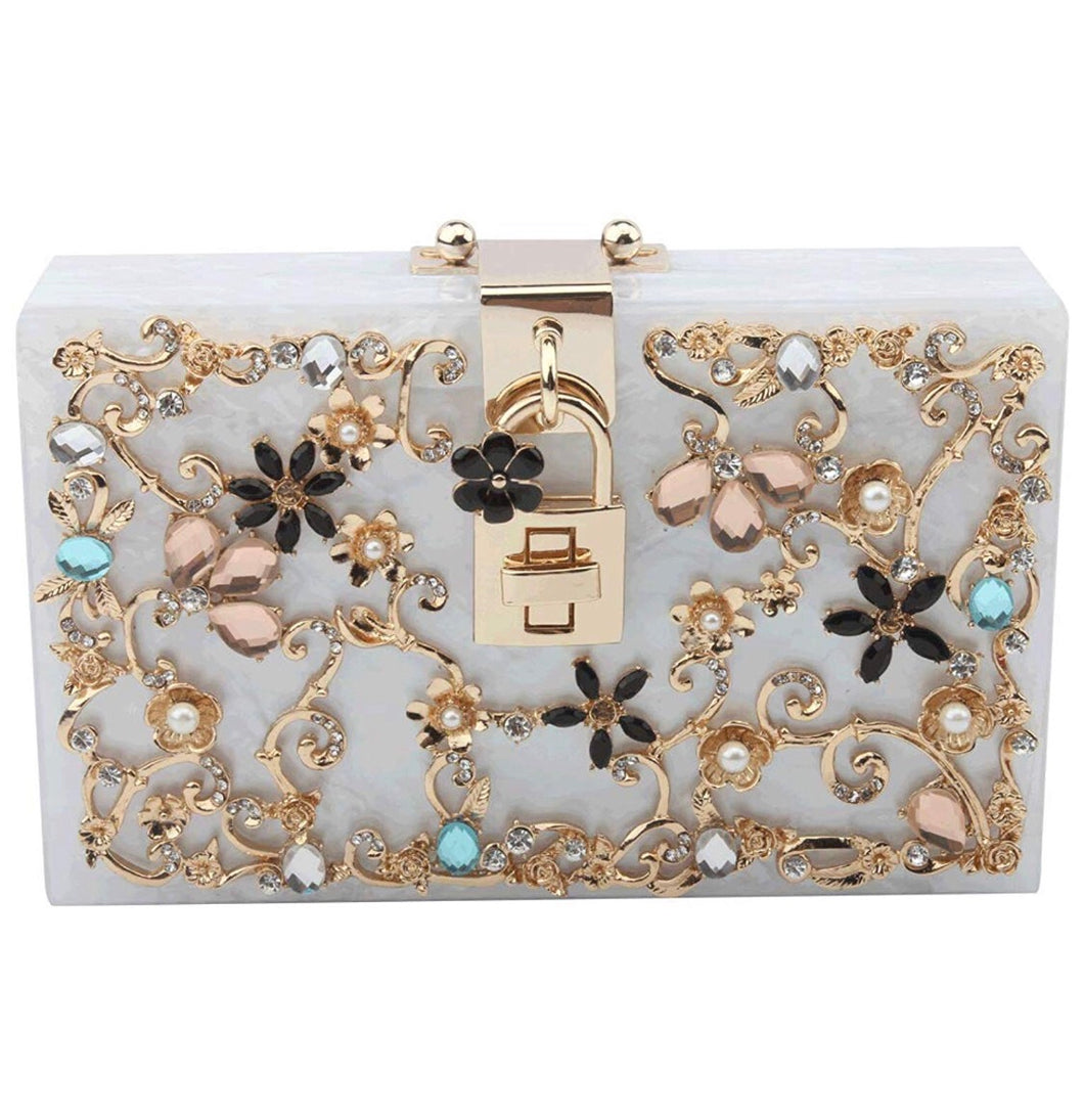 White Acrylic Trendy Clutch