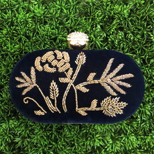 Navy Blue Embroidered Clutch