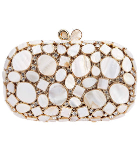 White & Gold Crystal Clutch - Mirza By SMK