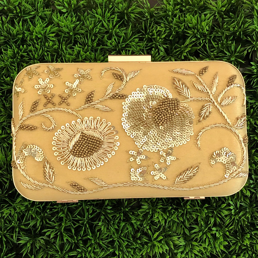 Gold Embroidered Clutch