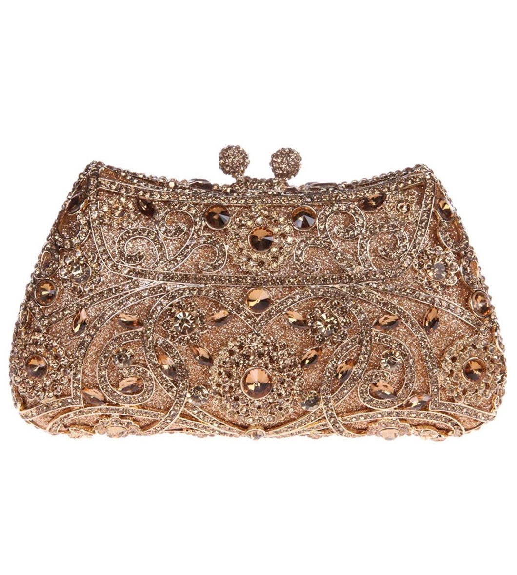 Antique Gold Crystal Clutch