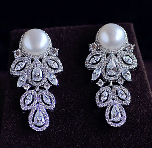 Silver Pearl Earrings - Mirza By SMK