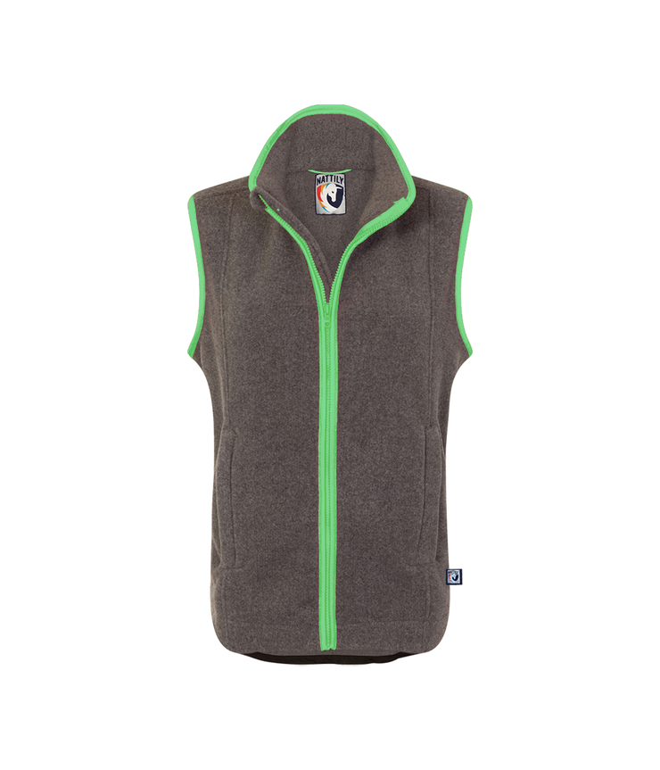 ADULT FLEECE GILET - GREY/MINT