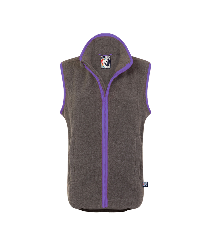 CHILDREN'S FLEECE GILET - GREY/PURPLE