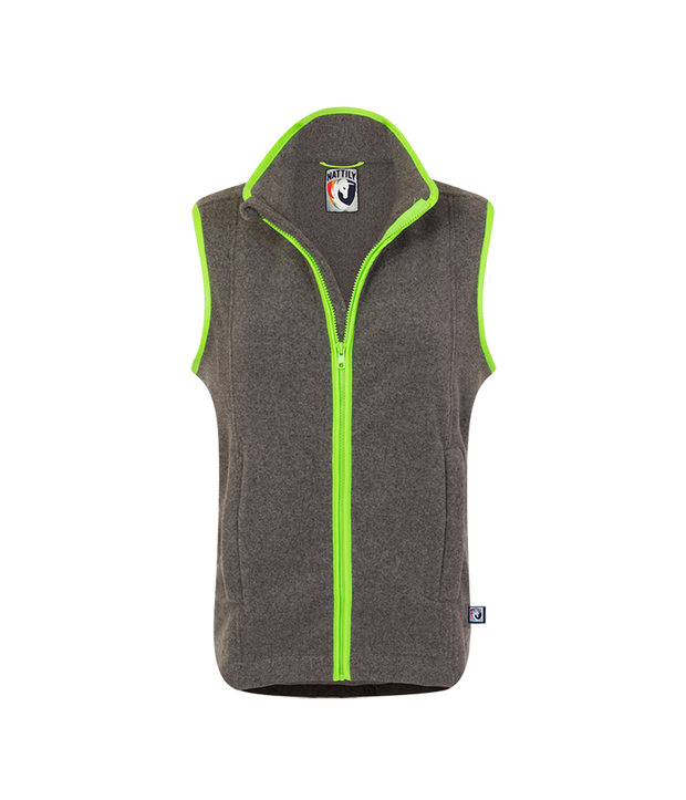 CHILDREN'S FLEECE GILET - GREY/LIME