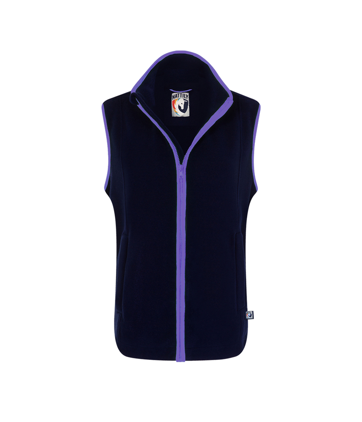 ADULT FLEECE GILET - NAVY/PURPLE