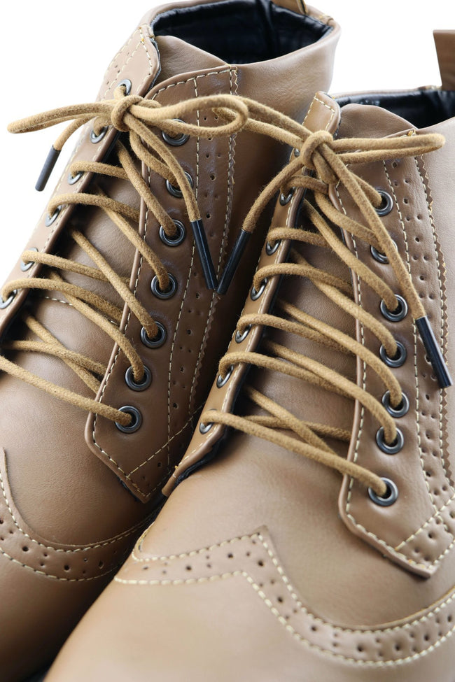 Shoe Boot Laces Chocolate Waxed Cotton Ted and Lemon with metal aglet