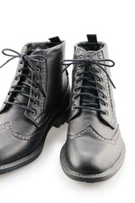 Black Dress Boot Laces Black Onyx Waxed Cotton Ted and Lemon with metal aglet