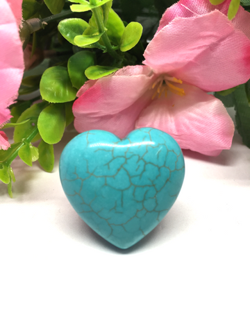 Blue Howlite Puff Heart # 27 - 30mm
