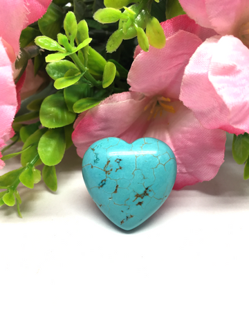 Blue Howlite Puff Heart # 28 - 30mm