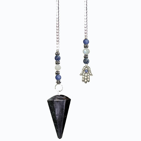 Blue Tiger Eye Faceted Pendulum with Hamsa