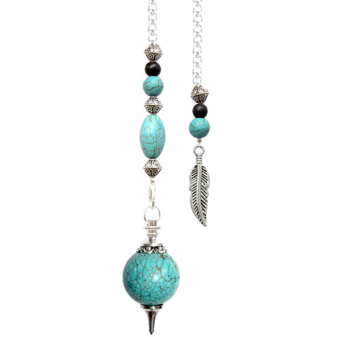 Turquoise with Feather Pendulum