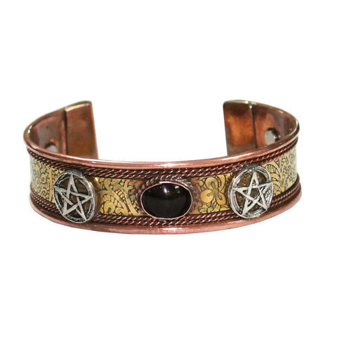 Pentacle with Black Stone Copper Bracelet