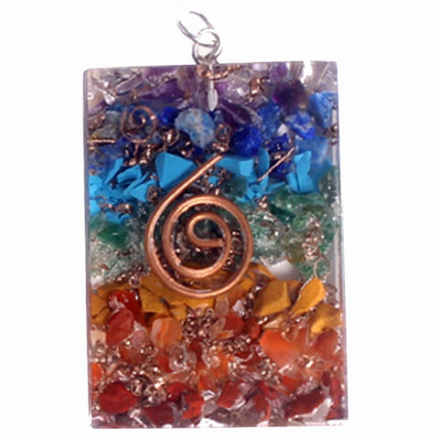 Chakra Rectangle Orgonite Pendant