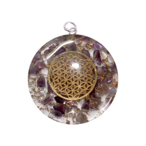 Flower of Life Amethyst & Quartz Orgone Protection Pendant