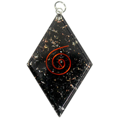 Black Tourmaline Diamond Orgone Protection Pendant