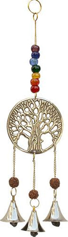 7 Chakra Tree Of Life Brass Bells Hanger