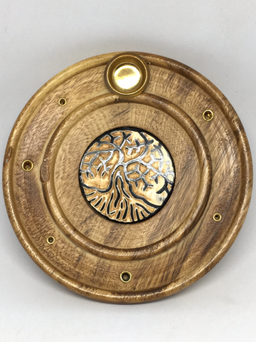 Tree Of Life Round Wooden Incense Holder