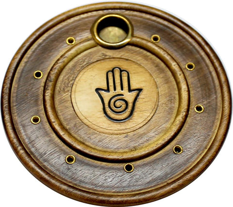 Healing Hand Round Wooden Incense Holder