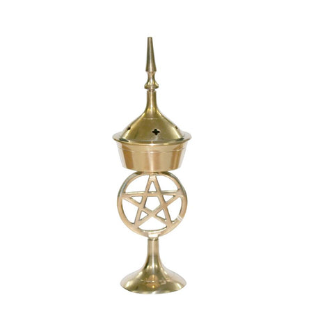 Brass Pentacle Incense Burner 17cm