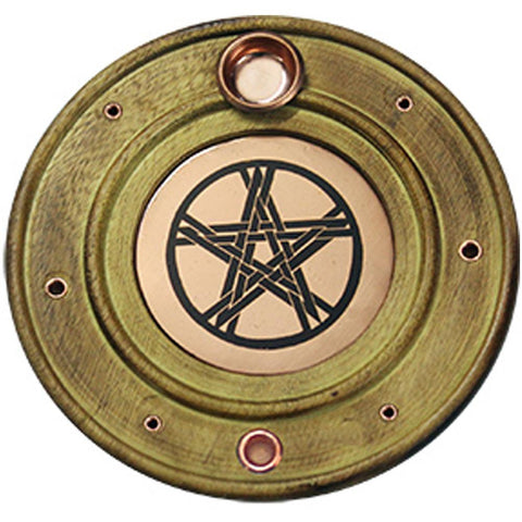 Pentacle Round Wooden/Copper Incense Holder