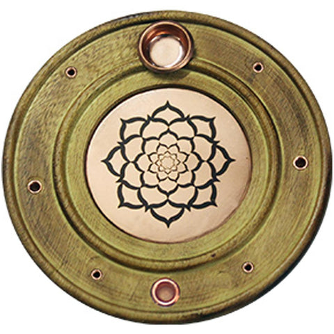 Lotus Round Wooden/Copper Incense Holder