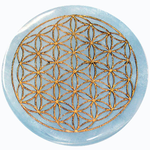 Selenite Flower of Life Gold Engraved Incense Holder 9.5cm