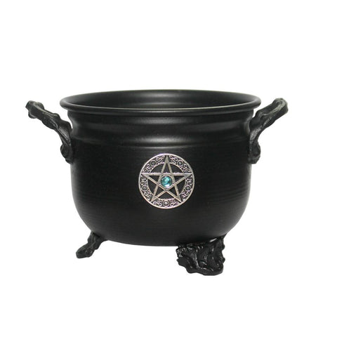 Black Metal Pentacle Cauldron 4.5""